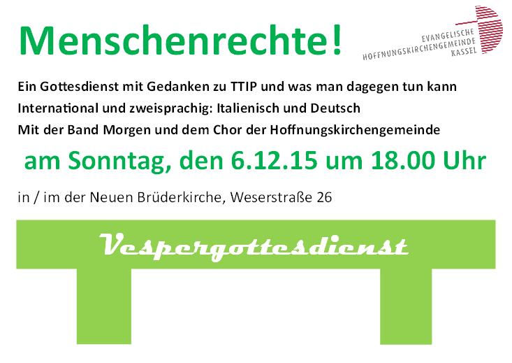 Vespergottesdienst TTIP Dez 15